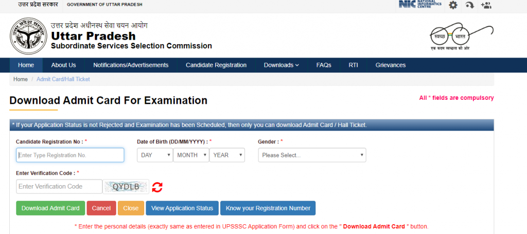 upsssc official website page for download the admit card